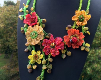 Beaded floral necklace in autumn palette - handmade jewelry - rustic colors - boho necklace - artisan jewellery