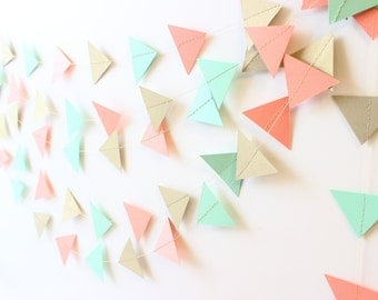 Geometric Garland, Mint Wedding Decor, Gold Wedding Garland, Party Decoration, Triangle Garland, Paper Garland, Bridal Shower, Baby Shower