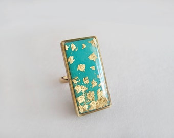 Turquoise Gold Rectangle Ring - Adjustable Ring - Gift for Her