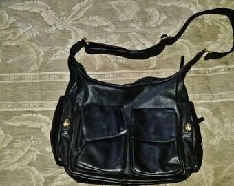 Black Leather Shoulder Bag// Messenger Bag// Made in Italy