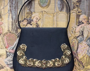 Vintage Black Satin Handbag Purse 1940s 1950s Antique Gold Metal Embroidered Rare Bullion Golden Beaded Embroidery Evening Bag Formal Clutch