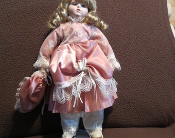 Vintage 1980s Pioneer Reproduction 14 Inch Porcelain Doll - Juliet - by The Seymour Mann Doll Company