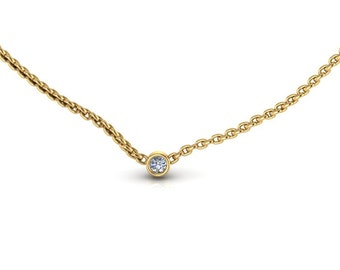 Tiny 14K Yellow Gold Small Diamond Solitaire Necklace Diamond Pendant Simple Diamond Necklace
