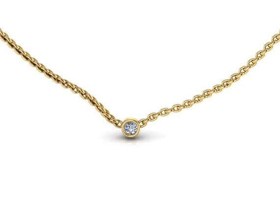 Tiny 14K Yellow Gold Small Diamond Solitare Necklace Diamond Pendant