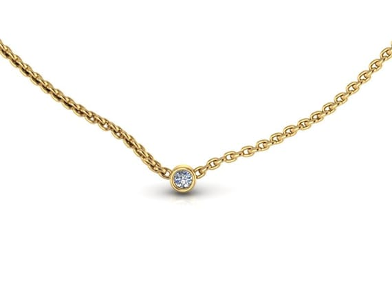 Tiny 14K Yellow Gold Small Diamond Solitaire Necklace Diamond Pendant
