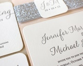The Willow  Suite - Modern Letterpress Wedding Invitation Suite, Black, Grey, Blush, Pink, Silver, Glitter, Calligraphy, Simple, Classic