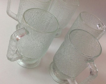 Textured Glass Handled Mugs, Crystal Ice Jeannette, Indiana Glass, Set of 3