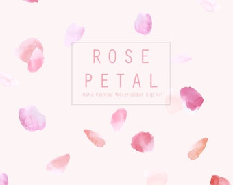 Watercolour Hand Painted Clip Art - Rose Petals
