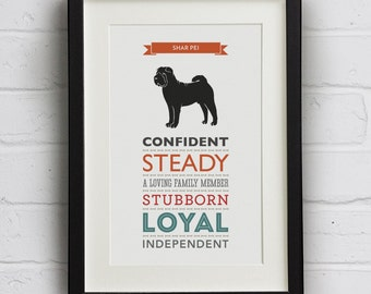 Shar Pei Dog Breed Traits Print - Great gift for Shar Pei Owners