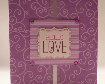 Purple Hello Love - Valentine's Day Card