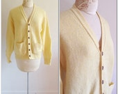 1960s Yellow Wool Vintage Cardigan Sweater // extra large, plus size 16 18 sixties grandpa retro pockets macklemore