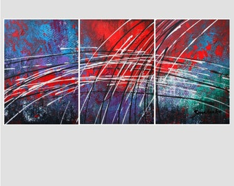 Abstract  ART  * painting  *  Triptych   *   Modern  contemporary  original  canvas  .  Alex Senchenko paintings .