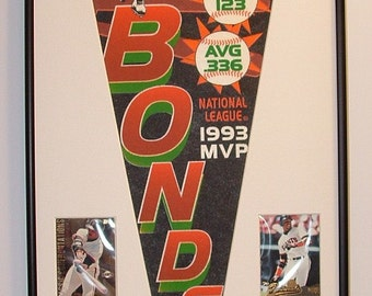San Francisco Giants Barry Bonds Pennant & Cards...Custom Framed!!!