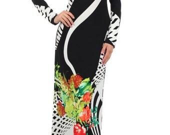Black/White & Floral Neck-Tye Maxi