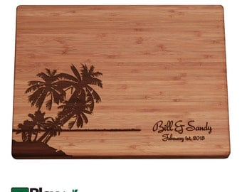 Engraved Cutting Board W/ Palm Tree, Island Design, 11x16 Or 9x12,  Personalized