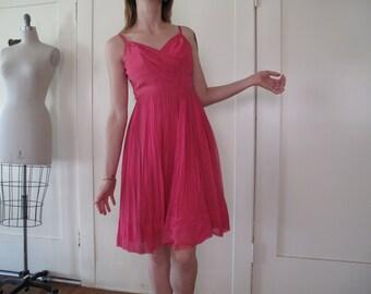 SALE SALE SALE 50's 60's Pink Chiffon Tank Dress sz Xs