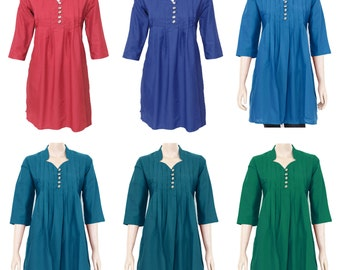 Ethnic Indian Pleated Cotton Kurti Kurta Top Blouse for Women - Ladies Dress - Wood Buttons - All Sizes - 6 colors Soft Light Weight Fabric