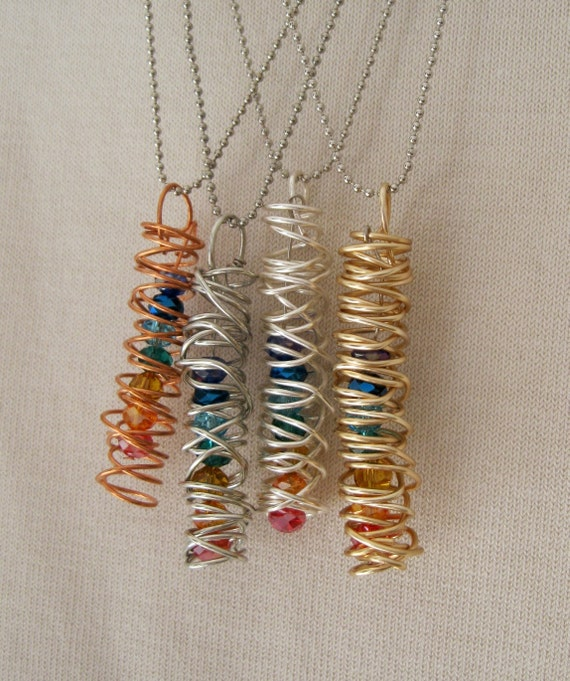 Coiled wire jewelry ,copper, silver plated, gold and antiqued silver wire necklace with rainbow beads, rainbow necklace