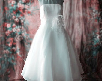 SALE Simple Design Tea Length Wedding dress with Feather Flower Can Also Be Customized with Long Sleeves