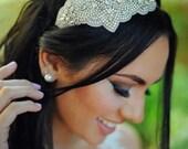 Crystal Princess Shaped Headpiece, Bridal Belt, Bridal Sash - Wedding Headpiece, Bridal, Rhinestone Headband - Princess Headpiece