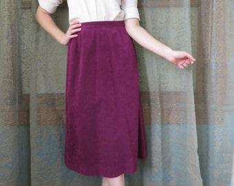 1990s Purple Suede Skirt Vintage Midi Skirt Purple Leather Skirt 90s Leather Skirt Long Suede Skirt A Line Rocker Leather Skirt