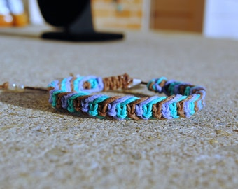 Mermaid Inspired- Purple, Teal, and Brown Fishbone Hemp Bracelet