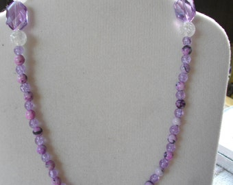 Sugilite and Glass and Crystals Purple Necklace