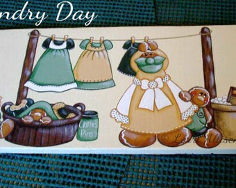 Gingerbread, Laundry, wall hanging, painting pattern, instant download