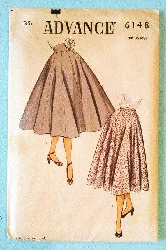 "Vintage Advance 6148, 1950s Ladies Full Gored Skirt Pattern - 30"" Waist, Uncut Factory Folded - Straight or Shaped Waist"