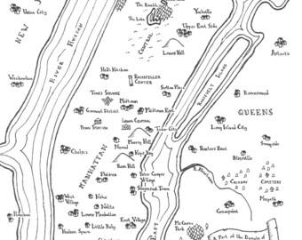 Fantasy map of New York boroughs