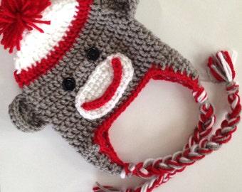 Handmade Crochet Sock Monkey Hat