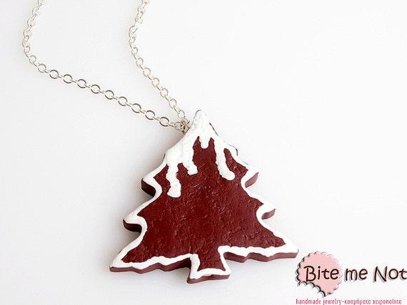 Food Jewelry Christmas Tree Cinnamon Cookie Necklace - Miniature Food Jewelry, Christmas Jewelry, Polymer Clay, Christmas Gift, Kawaii