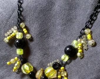 Yellow and black glass necklace