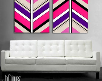 "Original geometric painting. 2 piece canvas art. 24x50"" Large pink and purple painting. Girly art. Modern wall art."