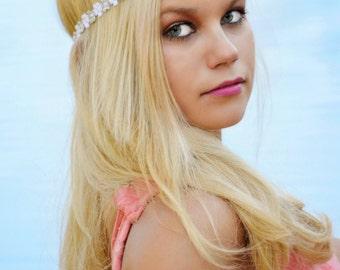 White Silver Boho Headband - Womens Boho Headband - Bohemian Headband - Bridal Headband - Hippie Headband - Halo Headband - Adult Headband