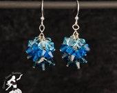 Deep Sea Ocean Blue Crystal Cluster Earrings