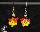 This is Halloween Black Orange and Yellow Crystal Cluster Earrings