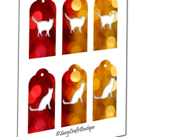 Cats Gold and Red Christmas Tags 2x4 Inch Set of 6 - Instant Download Collage Sheet