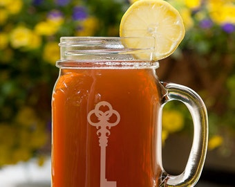 Victorian Skeleton Key Customizable Etched Canning Jar Mug Glassware Gift