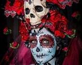 Red Roses Los Muertos Sugar Skull Day of the Dead Headdress Headpiece Romantic Bride