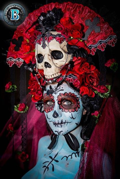 Red Roses Los Muertos Sugar Skull Day of the Dead by Sarieka
