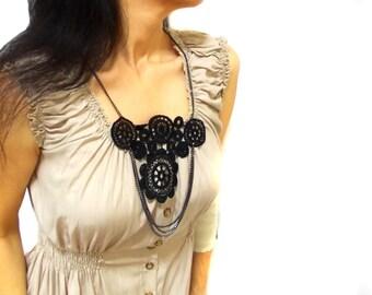 Black Lace bib necklace, Lacy Collar, Black lace with vintage shiny chain Gothic, Circle, Designer Jewelry, Unique design necklace