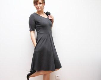 grey knee length dress / dress with pockets/ circle dress, short sleeve dress, womens dress, scoop neck dress