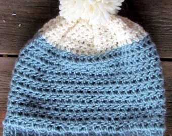 Two tone Wool Beanie hat with large Pompom