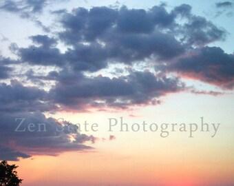 Sunset Fine Art Print. Pink and Blue Home Decor Sunset Photography.Sunset Wall Decor. Dreamy Blue Cloud Photography. Square Photography.