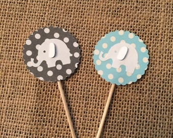 12 - Baby Blue and Gray Elephant Cupcake Toppers