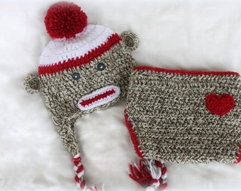 Sock Monkey Hat & Diaper Cover Set - Crochet Hat Set- Boy or Girl - Photo Prop - Sock Monkey Outfit