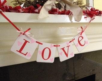LOVE Banner Valentines Day Decoration Banner Love Garland Happy Valentines Day decoration