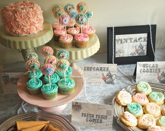 Cupcake Toppers - Handmade paper fabric bling - shabby chic tea party