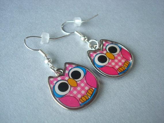 Pink Earrings For Girls Pink Gingham Owl Earri...
